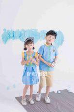 护岛宝贝幼儿园园服男女童新款三色拼接英伦儿童夏季套装校服