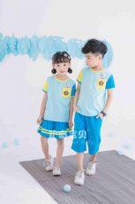 护岛宝贝幼儿园园服男女童新款三色拼接儿童夏季套装校服