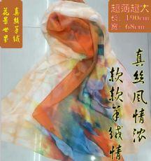 新品羊绒围巾时尚绣花真丝丝巾女冬季春秋桑蚕丝旅游度假披肩两用