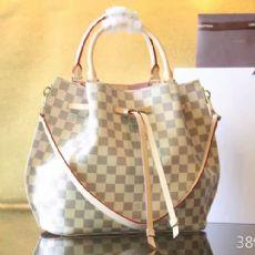 Louis Vuitton经典白色棋盘格水桶包 N41579