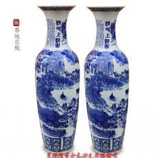 落地陶瓷大花瓶定制 高档手绘清明上图落地大花瓶摆件