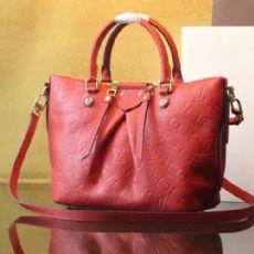 原单小牛皮压纹单肩包 M50639 红色女士手提包