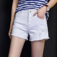 白色破洞短裤女夏2017学生高腰牛仔热裤大码阔腿裤百搭黑色短裤女