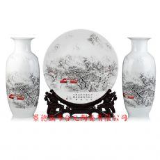 陶瓷花瓶三件套批发 陶瓷工艺摆盘花瓶套装礼品