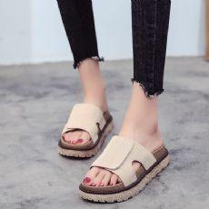 时尚个性魔术贴平底拖鞋女夏新款韩版露趾平跟一字拖厚底凉