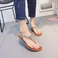 波西米亚水钻平底凉鞋