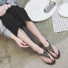 潮爆欧美铆钉满钻水钻串珠平底平跟女凉鞋