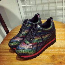 网络爆款彩虹鞋内增高厚底休闲运动鞋