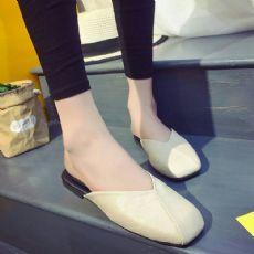 新款火爆平底软底复古舒适奶奶鞋半拖鞋