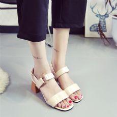 韩版新品金属 扣粗跟高跟鞋女高跟凉鞋
