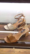 韩版新品一字扣马蹄跟粗跟高跟凉鞋女士高跟鞋