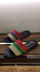 韩式新品麻绳彩色织带平底拖鞋