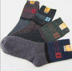 秋冬季地摊羊毛袜子厂家批发 加厚保暖纯色休闲袜 跑江湖袜子礼品袜