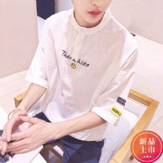 夏季17新款亚麻短袖t恤韩版潮流学生宽松小清新五分袖5分纯色体恤