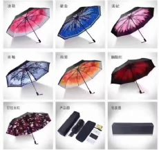 微商双层太阳伞蕉焦下小黑伞防晒黑胶三折晴雨伞女遮阳伞 一件代
