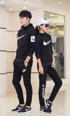 团购一件代发耐克2017新款长袖套装情侣跑步套装运动服