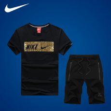 耐克/nike运动套装男夏季纯棉短袖短裤透气大码跑步健身