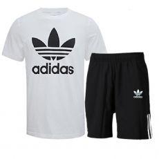 阿迪三叶草男士两件套装2017夏季薄款纯棉透气短袖T恤运动