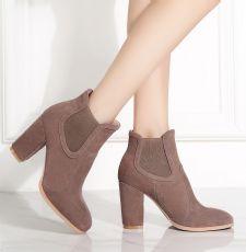韩版秋冬女鞋真皮磨砂方头短筒松紧带高跟粗跟切尔西短靴子女