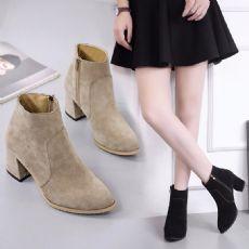 2017冬季新款马丁靴低跟粗跟女鞋