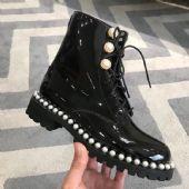 全真皮珍珠系带高档马丁靴
