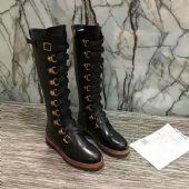欧美大牌全真皮金属皮带扣高筒靴气帅气骑士靴
