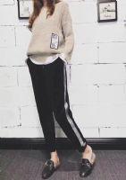 新款加绒银边裤,丝绒运动裤,懒人裤,显瘦显腿长