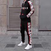 乔丹supreme联名aj经典黑红配色卫衣套装