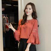 菲洛佳琪女装2017秋季新款韩版V领系带压褶喇叭袖雪纺衫衬衫
