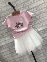 小鸟款粉T+白裙 美丽小天使童装