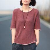 夏季新款 简约休闲拼色螺纹亚麻针织衫T恤女圆领中袖打底衫