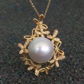 18k钻石镶嵌顶级深海珍珠饰品批发零售图片