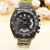 JHLF大表盘男士钢带手表运动时尚非机械手表学生手表男礼品表供应