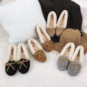 正品UGG女士新款豆豆鞋懒人鞋澳洲羊皮毛一体专柜代购版本