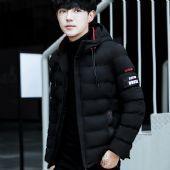 棉衣男冬季青年韩版修身短款潮外套男士连帽加厚大码潮流羽绒棉服