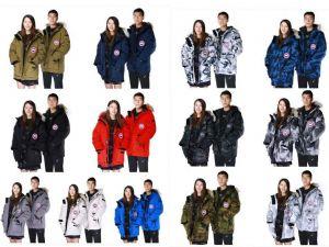 大鹅羽绒服男女士加拿大进口鹅绒情侣迷彩工装服08远征中长款