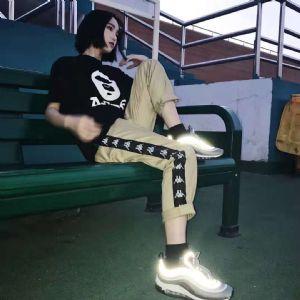 卡帕kappa运动面料直筒织带长裤子 原标、吊牌、防伪扣