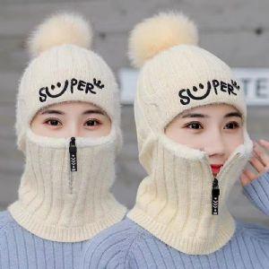 帽子女冬季针织护耳毛线帽保暖加绒加厚防风骑车围脖连体套头帽