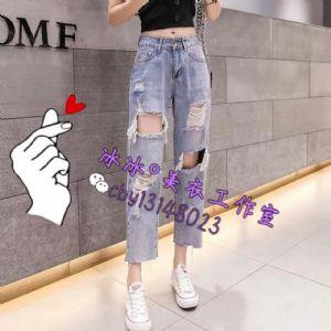 女装破洞牛仔裤一手货源图片