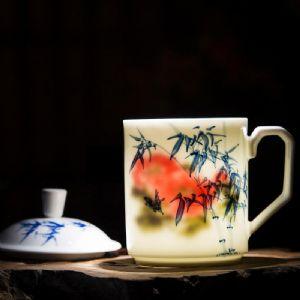 外事礼品陶瓷杯子印书法文字,景德镇文化礼品茶杯定制