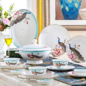 公司促销礼品餐具,景德镇中式陶瓷餐具定做