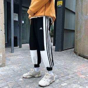 阿迪达斯三叶草工装裤男秋季情侣运动束脚女裤拼接长裤撞色
