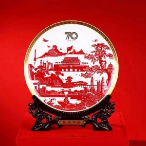 公司周年纪念品瓷盘定制批发,周年庆典礼品工艺摆盘