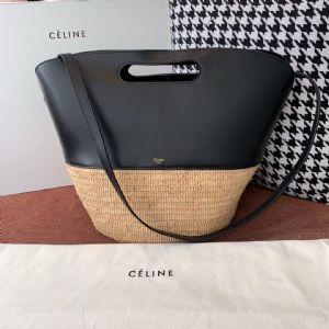 赛 琳 19新款Basket编织拼皮手提包