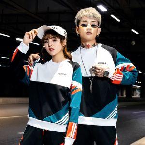 阿迪达斯Adidas三叶草男女圆领卫衣休闲复古撞色长袖套头衫