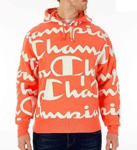 Champion 冠军 连帽橘色橙色字母logo潮运动帽衫