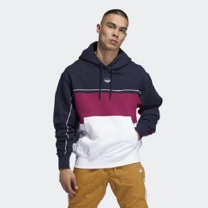Adidas阿迪达斯三叶草连帽卫衣圆领复古撞色拼接长袖套头衫