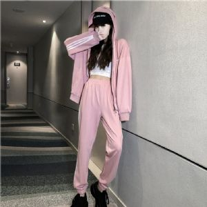 Adidas阿迪达斯三叶草19秋季新品女子运动连帽外套长裤套