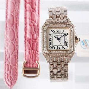 方形满天星镶钻女士全自动机械钢带手表 时尚潮流女神腕表