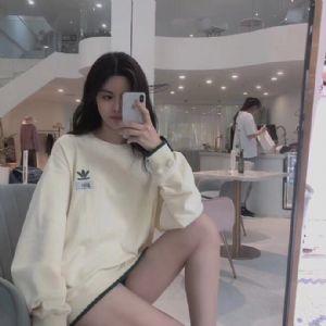 Adidas三叶草女子淡绿条纹复古运动休闲卫衣套头衫